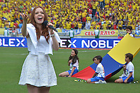 BARRANQUILLA - COLOMBIA - 17-11-2015: Daniella Mass cantó el himno de Colombia previo al encuentro entre Colombia y Argentina válido por la clasificación a la Copa Mundo FIFA 2018 Rusia jugado en el estadio Metropolitano Roberto Melendez en Barranquilla./ Daniella Mass sang the anthem of Colombia prior the match between Colombia and Argentina valid for the 2018 FIFA World Cup Russia Qualifiers played at Metropolitan stadium Roberto Melendez in Barranquilla. Photo: VizzorImage / Alfonso Cervantes / Str