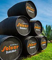Spanien, Andalusien, Provinz Cádiz, eine Solera von Sherry-Faessern, Bodegas Solear   Spain, Andalusia, Province Cádiz, a solera of Sherry barrels, Bodegas Solear