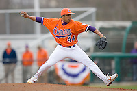 Relief pitcher Tomas Cruz #44 of the Clemson Tigers in action versus the Wake Forest Demon Deacons at Doug Kingsmore stadium March 13, 2009 in Clemson, SC. (Photo by Brian Westerholt / Four Seam Images)