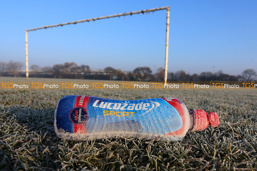 General view of an abandoned drinks bottle. Freezing temperatures and a hard overnight frost bring about the postponement of dozens of Hackney & Leyton Sunday League Football matches at Hackney Marshes on 22nd January 2017