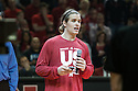 March 9, 2014: Senior Mike Peltz (12) of the Nebraska Cornhuskers addresses the fans on senior night before the game against the Wisconsin Badges at the Pinnacle Bank Arena, Lincoln, NE. Nebraska 77 Wisconsin 68.