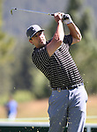 Green Bay Packers quarterback Aaron Rodgers plays in a practice round at the 22nd American Century Celebrity Golf Championship at Edgewood Tahoe Golf Course in Stateline, Nev., on Thursday, July 14, 2011. .Photo by Cathleen Allison