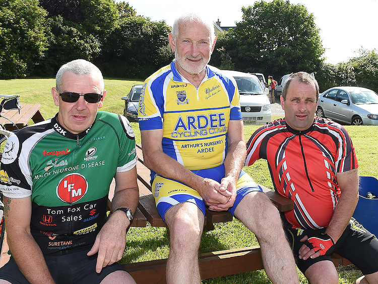Charlie O'Donoghue, Benny Grogan and Richie Murray who took part n the annual Dromin charity cycle in aid of Ardee Hospice.  Photo:Colin Bell/pressphotos.ie