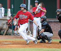 Outfielder Tyler Koelling (18) of the Elizabethton Twins, Appalachian League affiliate of the Minnesota Twins, in a game against the Bristol White Sox on August 18, 2011, at Joe O'Brien Field in Elizabethton, Tennessee. Elizabethton defeated Bristol, 13-3. (Tom Priddy/Four Seam Images)