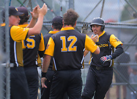 Dante Matakatea (Wellington) celebrates the first Wellington run. Wellington v North Harbour men's final. 2020 National Fastpitch Softball Championships at Fraser Park in Lower Hutt, New Zealand on Sunday, 16 February 2020. Photo: Dave Lintott / lintottphoto.co.nz