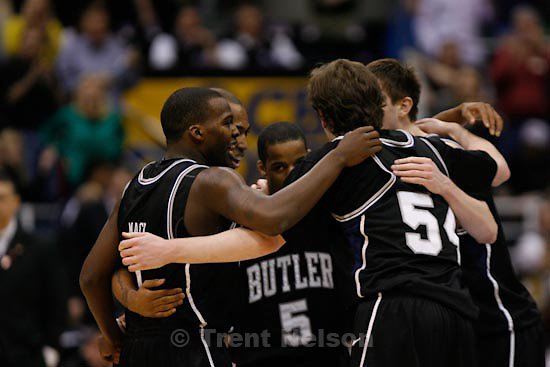 Trent Nelson  |  The Salt Lake Tribune.Salt Lake City - Butler vs. Kansas State, NCAA West Regional (Final Eight), Saturday, March 27, 2010. Butler guard Shelvin Mack (1) Butler guard Ronald Nored (5) Butler forward Matt Howard (54) Butler guard/forward Gordon Hayward (20)