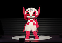 25th August 2019;  Tokyo, Japan;  Paralympic mascot Someity waves to spectators during the One Year to Go ceremony to celebrate the one year countdown to Tokyo 2020 Paralympic Games in Tokyo