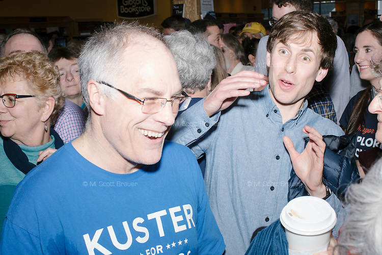 People mingle after hearing Democratic presidential candidate Pete Buttigieg speak at a campaign event at Gibson's Bookstore in Concord, New Hampshire, USA, on Sat., Apr. 6, 2019. Buttigieg is the mayor of South Bend, Indiana, and was widely considered a long-shot candidate until his appearance in a CNN town hall in March 2019 which catapulted his campaign to prominence and substantial donations.