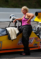 Jun 18, 2017; Bristol, TN, USA; NHRA top dragster driver Angela Travis during the Thunder Valley Nationals at Bristol Dragway. Mandatory Credit: Mark J. Rebilas-USA TODAY Sports