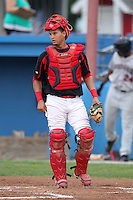 Batavia Muckdogs catchetr Juan Castillo (9) during a game vs. the Mahoning Valley Scrappers at Dwyer Stadium in Batavia, New York August 2, 2010.  Batavia defeated Mahoning Valley 6-3 in 10 innings.  Photo By Mike Janes/Four Seam Images