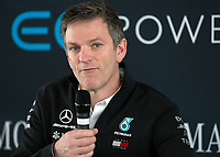 James Allison (Technical Director) of Mercedes-AMG Petronas Motorsport during the Mercedes-AMG F1 W09 EQ Power+ 2018 F1 Car Launch at Silverstone, England on 22 February 2018. Photo by Vince  Mignott.