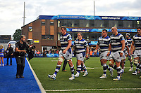 Stuart Hooper leads his players off the field at half-time. Amlin Challenge Cup Final, between Bath Rugby and Northampton Saints on May 23, 2014 at the Cardiff Arms Park in Cardiff, Wales. Photo by: Patrick Khachfe / Onside Images