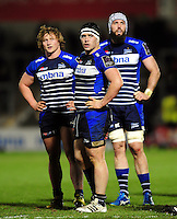 Tommy Taylor, Cameron Neild and Bryn Evans of Sale Sharks look on during a break in play. European Rugby Challenge Cup quarter final, between Sale Sharks and Montpellier on April 8, 2016 at the AJ Bell Stadium in Manchester, England. Photo by: Patrick Khachfe / JMP