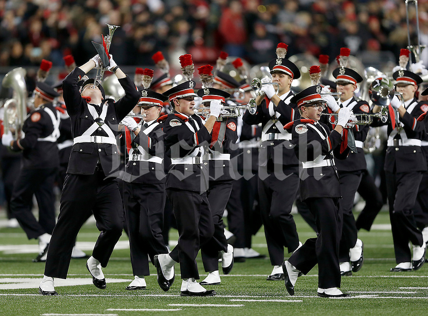 The Ohio State marching band during the first quarter of the NCAA football game between the Ohio State Buckeyes and the Penn State Nittany Lions at Ohio Stadium on Saturday, October 17, 2015. (Columbus Dispatch photo by Jonathan Quilter)