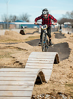 NWA Democrat-Gazette/BEN GOFF @NWABENGOFF<br /> Grayson Vernon, 12, of Bella Vista rides the skills lines Saturday, Feb. 9, 2019, at the Runway Bike Park at the Jones Center in Springdale. The bike playground and pump track at the park opened in late September, but the skills lines were delayed in opening until today due to weather and drainage issues.
