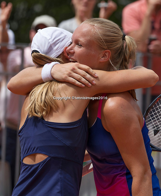 Paris, France, 22 June, 2016, Tennis, Roland Garros, womans doubles: Kiki Bertens (NED) and her partner Johanna Larsson (SWE) (L)<br /> Photo: Henk Koster/tennisimages.com