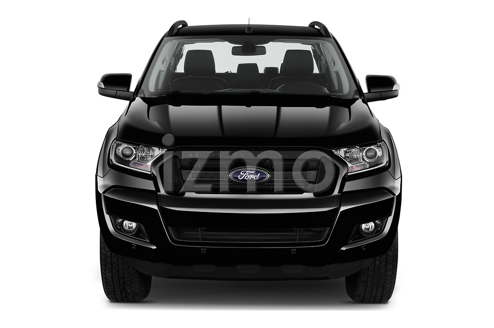 Car photography straight front view of a 2018 Ford Ranger Limited-Black-Edition 4 Door Pick-up Front View