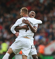 West Ham United's Andriy Yarmolenko celebrates scoring his side's first goal with Issa Diop<br /> <br /> Photographer Rob Newell/CameraSport<br /> <br /> The Premier League - Bournemouth v West Ham United - Saturday 28th September 2019 - Vitality Stadium - Bournemouth<br /> <br /> World Copyright © 2019 CameraSport. All rights reserved. 43 Linden Ave. Countesthorpe. Leicester. England. LE8 5PG - Tel: +44 (0) 116 277 4147 - admin@camerasport.com - www.camerasport.com