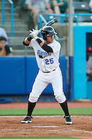 Wilmer Dominguez (25) of the Hudson Valley Renegades at bat against the Brooklyn Cyclones at Dutchess Stadium on June 18, 2014 in Wappingers Falls, New York.  The Cyclones defeated the Renegades 4-3 in 10 innings.  (Brian Westerholt/Four Seam Images)