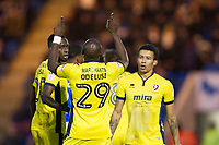 Sammi Odelusi signed yesterday by Cheltenham celebrates his equalising goal during Colchester United vs Cheltenham Town, Sky Bet EFL League 2 Football at the Weston Homes Community Stadium on 6th January 2018