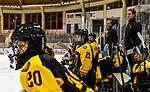 07.01.2020, BLZ Arena, Füssen / Fuessen, GER, IIHF Ice Hockey U18 Women's World Championship DIV I Group A, <br /> Deutschland (GER) vs Frankreich (FRA), <br /> im Bild Sofie Disl (GER, #20), Celine Mayer (GER, #21), Marius Riedel (GER), und Franziska Busch (GER) verfolgen das Spiel<br /> <br /> Foto © nordphoto / Hafner