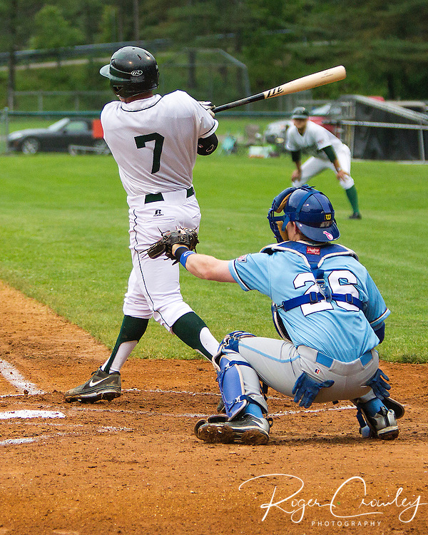 Thomas Roulis (Dartmouth C) at bat. Laconia catcher  Carter White (U Memphis