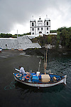 fishing harbour and church of Calheta de Nesquim. Pico  Island..