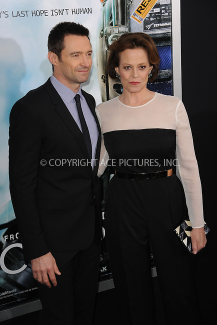 WWW.ACEPIXS.COM<br /> March 4, 2015 New York City<br /> <br /> Hugh Jackman and Sigourney Weaver attending the 'Chappie' New York Premiere at AMC Lincoln Square Theater on March 4, 2015 in New York City.<br /> <br /> Please byline: Kristin Callahan/AcePictures<br /> <br /> ACEPIXS.COM<br /> <br /> Tel: (646) 769 0430<br /> e-mail: info@acepixs.com<br /> web: http://www.acepixs.com