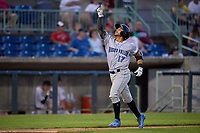 Hudson Valley Renegades Luis Trevino (17) points to the sky as he approaches home plate after hitting a home run during a NY-Penn League game against the Mahoning Valley Scrappers on July 15, 2019 at Eastwood Field in Niles, Ohio.  Mahoning Valley defeated Hudson Valley 6-5.  (Mike Janes/Four Seam Images)