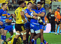 The Stormers celebrate Bongi Mbonambi's try on the stroke of halftime during the Super Rugby match between the Hurricanes and Stormers at Westpac Stadium in Wellington, New Zealand on Saturday, 23 March 2019. Photo: Dave Lintott / lintottphoto.co.nz