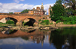 Summer on the River Annan looking across to Annan Bridge on the Annandale Way and the town hall in Annan Scotland UK