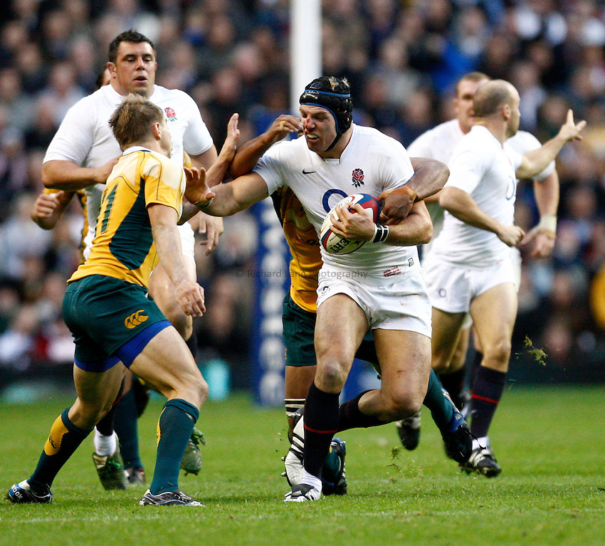 Photo: Richard Lane/Richard Lane Photography. England v Australia. Cook Cup. Investec Challenge Series 2009. 07/11/2009. England's James Haskell attacks.