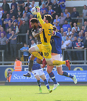 Lincoln City's Jordan Roberts vies for possession with Carlisle United's Adam Collin<br /> <br /> Photographer Chris Vaughan/CameraSport<br /> <br /> The EFL Sky Bet League Two - Carlisle United v Lincoln City - Friday 19th April 2019 - Brunton Park - Carlisle<br /> <br /> World Copyright © 2019 CameraSport. All rights reserved. 43 Linden Ave. Countesthorpe. Leicester. England. LE8 5PG - Tel: +44 (0) 116 277 4147 - admin@camerasport.com - www.camerasport.com