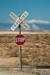 Railroad crossing sign near Trona, California