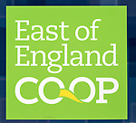 East of England Co-operative Society shop advertising boards hoardings, Woodbridge, Suffolk, UK