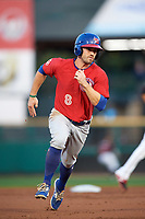 Buffalo Bisons left fielder Jon Berti (8) running the bases during a game against the Rochester Red Wings on August 25, 2017 at Frontier Field in Rochester, New York.  Buffalo defeated Rochester 2-1 in eleven innings.  (Mike Janes/Four Seam Images)