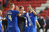 11/08/2015 Capital One Cup, First Round Fleetwood Town v Hartlepool United<br /> Billy Paynter celebrates victory with Harry Worley
