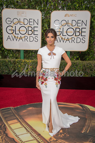Eva Longoria arrives at the 73rd Annual Golden Globe Awards at the Beverly Hilton in Beverly Hills, CA on Sunday, January 10, 2016. Photo Credit: HFPA/AdMedia