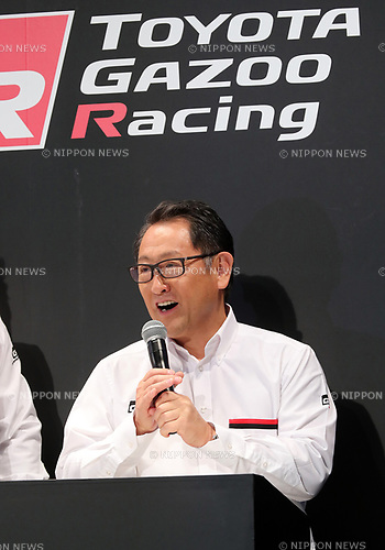 "September 19, 2017, Tokyo, Japan - Japanese automobile giant Toyota Motor president Akio Toyoda is all smiles as he introduces Toyota's sports car series ""GR sports"" from Gazoo racing at Toyota's showroom Megaweb in Tokyo on Tuesday, September 19, 2017. GR series are sports tuned Toyota's vehicle and seven models are started to sell from September 19 through Toyota's shops.    (Photo by Yoshio Tsunoda/AFLO) LWX -ytd-"