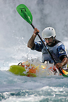 Mike Abbott, kayak downhill race in the Brandseth river. The Extremesport Week, Ekstremsportveko, is the worlds largest gathering of adrenalin junkies. In the small town of Voss enthusiasts in a varitety of extreme sports come togheter every summer to compete and play. Norway.  ©Fredrik Naumann/Felix Features.
