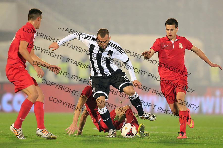 Fudbal Jelen Super League season 2014-2015<br /> Partizan v Napredak (Krusevac)<br /> Petar Skuletic (C) Marko Gobeljic (R)<br /> Beograd, 23.11.2014.<br /> foto: Srdjan Stevanovic/Starsportphoto&copy;