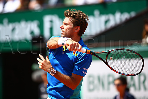 5th June 2017, Roland Garros, Paris, France; French Open tennis championships;  STANISLAS WAWRINKA (SUI)  during day nine match of the 2017 French Open on June 5, 2017, at Stade Roland-Garros in Paris, France.