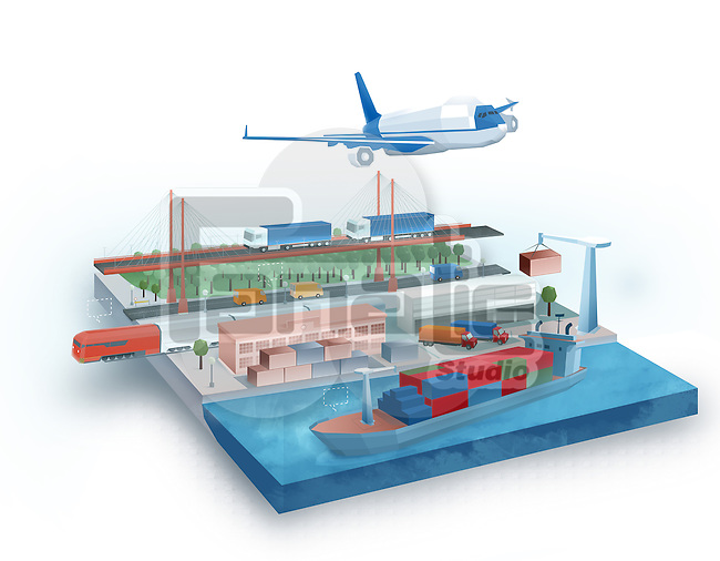 Illustration of global logistic concept