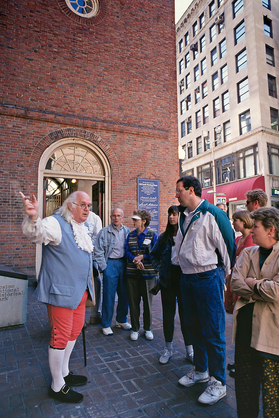 Massachusetts, Boston; Beacon Hill; Tour Guide In Colonial Costume Stands Outside Old South Church With Tour Grou
