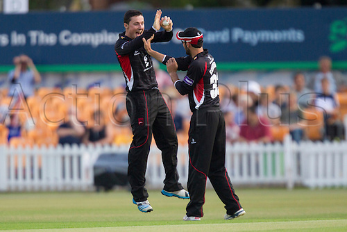 11.07.2014. Leicester, England. NatWest T20 Blast, Leicestershire Foxes vs Lancashire Lightning.  Leicestershire Foxes players celebrate a wicket.