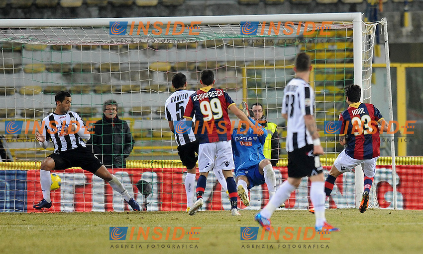 "il gol di Panagiotis KONE (Bologna) goal celebration.Bologna 26/02/2012 Stadio ""Renato Dall Ara"".Serie A 2011/2012.Football Calcio Bologna Vs Udinese.Foto Insidefoto Alessandro Sabattini."