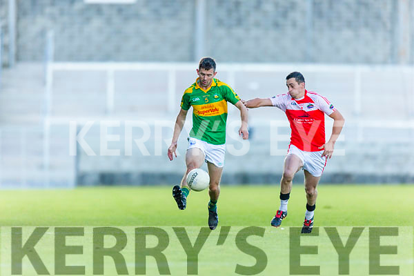 Greg Gibson South Kerry in action against Brendan Kelliher Dingle in the Quarter Finals of the Kerry County Football Championship at Austin Stack Park on Saturday.