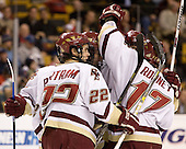 Dan Bertram (Boston College - Calgary, AB), Benn Ferriero (Boston College - Essex, MA), Mike Brennan (Boston College - Smithtown, NY) and Joe Rooney (Boston College - Canton, MA) celebrate Ferriero's goal which tied the game at 1. The Boston College Eagles defeated the Harvard University Crimson 3-1 in the first round of the 2007 Beanpot Tournament on Monday, February 5, 2007, at the TD Banknorth Garden in Boston, Massachusetts.  The first Beanpot Tournament was played in December 1952 with the scheduling moved to the first two Mondays of February in its sixth year.  The tournament is played between Boston College, Boston University, Harvard University and Northeastern University with the first round matchups alternating each year.