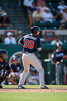 Atlanta Braves second baseman Daniel Lockhart (98) at bat during a Grapefruit League Spring Training game against the Detroit Tigers on March 2, 2019 at Publix Field at Joker Marchant Stadium in Lakeland, Florida.  Tigers defeated the Braves 7-4.  (Mike Janes/Four Seam Images)