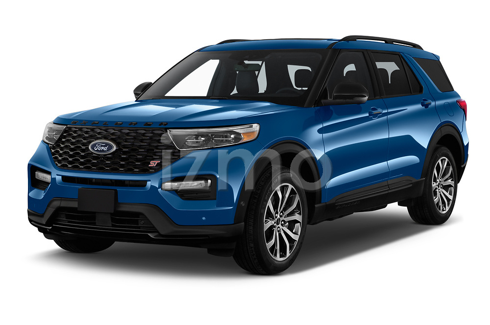 2020 Ford Explorer ST 5 Door SUV Angular Front automotive stock photos of front three quarter view